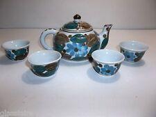 Vintage Chinese Porcelain TEA POT CUP Set BLUE FLOWERS