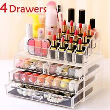 4 Drawer Cosmetic Organizer Clear Acrylic Makeup Case Jewelry Holder Box Storage