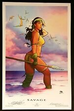 "FRANK CHO X-MEN ROGUE SAVAGE LAND SDCC 2016 ART PRINT S&N XX/250  11""x17"""