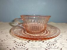 Pink Art Glass Depression Ribbed Glass Cup and Saucer