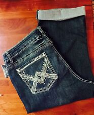 NEW Earl Womens Capris Jeans Size16W Dark w/Fading Stretch BlingMe Embellished