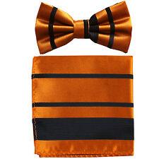 New formal men's pre tied Bow tie & Pocket Square Hankie stripes Black bronze