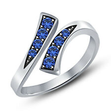 Blue Sapphire 925 Sterling Silver Bypass Adjustable Toe Ring Fashion Jewelry