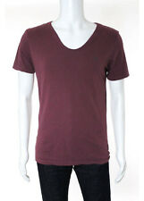 ALL SAINTS Men's Burgundy Red Cotton V Neck Short Sleeve Tee Shirt Top Sz S