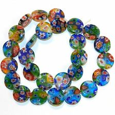 """G3571L Assorted Multi-Color Mix 14mm Flat Round Millefiori Flower Glass Bead 13"""""""