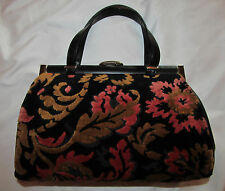 vintage 50's raised velvet tapestry carpet brocade doctor's style hand bag