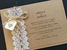 25 Personalised Handmade Vintage Lace Kraft Wedding Invitations Wedding Cards