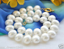 LARGE 11-12MM NATURAL WHITE REAL BAROQUE CULTURED PEARL NECKLACE 18''AAA+