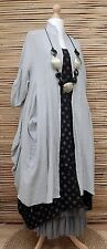 LAGENLOOK LINEN STUNNING OVERSIZE 2 PCS DOTS DRESS+LONG JACKET*GREY/BLACK*XL-XXL
