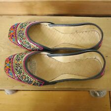 Indian Pakistan Wedding Leather Embroidered Ballet Flats Hippy Slippers 10 41