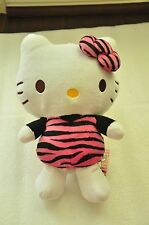HELLO KITTY PINK ZEBRA PRINT ZIPPER POCKET PLUSH PLUSHY TOY JAPAN