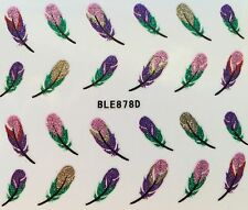 Nail Art 3D Glitter Decal Stickers Feathers BLE878D