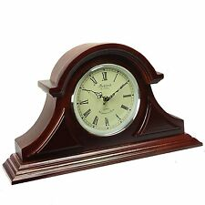 NEW BEDFORD COLLECTION REDWOOD FINISH MANTEL MANTLE DESK SHELF CLOCK with CHIME