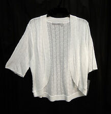BRITE WHITE SOFT OPEN FRONT/WEAVE KNIT CROCHET CARDIGAN JACKET SWEATER TOP~1X~NW