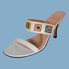 JOAN & DAVID Circa Womens White Slip On Slide Sandal Heel Size 8.5