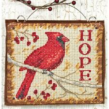 Counted Cross Stitch Kit HOPE ORNAMENT Red Bird Cardinal Dimensions