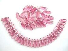 50 PINK / CRYSTAL Czech glass dagger beads - 3x10mm