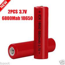 2PCS 3.7V 6800mAh Li-ion Rechargeable 18650 Battery For Flashlight Torch Lamp