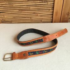 WOMEN'S Vintage 80s/90s 'BENETTON' Tan LEATHER Rainbow LOGO Belt S/M
