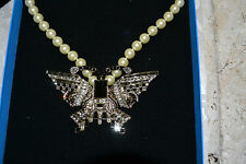 NIB $200 HEIDI DAUS Eva Diva Crystal Butterfly Pearl Drop Necklace Jet Crystals