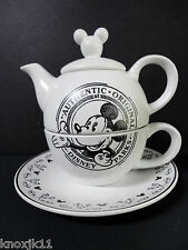 NEW Disney Store 4Pc Mickey Mouse TEA FOR ONE CUP TEAPOT SAUCER Black White NIB!