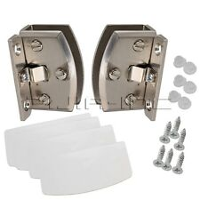 90C Opening Side Mount Glass Cabinet Cupboard Door Clamp Hinge Kit 4mm Thickness