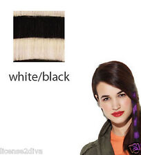 "CLIP IN FAUX FEATHERS! WHITE/BLACK ZEBRA! 16"" INCLUDES 2 PIECES! BY: HAIRUWEAR!"