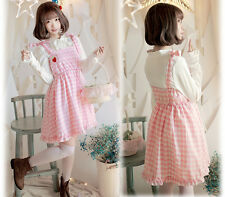 Kawaii Loose Cute Strawberry Embroidery Plaid Sweet Girls Overalls Dresses Moe #