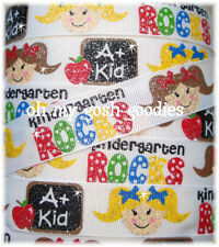 7/8 GLITTER KINDERGARTEN ROCKS BACK 2 SCHOOL GIRL GROSGRAIN RIBBON 4 HAIRBOW BOW