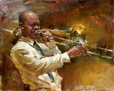 Beautiful Oil painting male portraits playing Jazz music Jazz musicians canvas