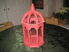 """Red/Pink Vintage Decorative Wood and Wire Bird Cage 15"""" Tall"""