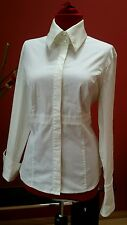 ESCADA WOMEN'S WHITE DRESS SHIRT BLOUSE LONG SLEEVES STRETCHY SIZE L XL  42 MINT