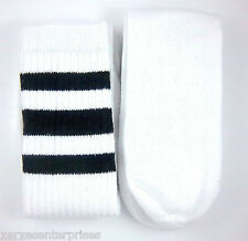 Athletic Soccer Rugby Sports Fashion Tube Socks Black Stripes 2-pack