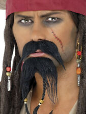 New Pirate Facial Hair Set Black Moustache Beard Fancy Dress Movie Fun Accessory