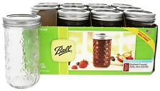 Ball - Regular Mouth 12 oz. Quilted Crystal Jelly Mason Jars Freezer Safe - 12