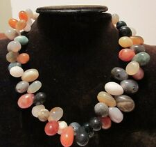 "Vintage Natural EGG SHAPE AGATE BEAD NECKLACE 17"" Multi Color Polished STONES"