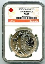 2015 $5 CANADA 1 OZ SILVER FIVE BLESSINGS NGC MS69 TOP POPULATION..ONLY 29 KNOWN