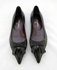 CHANEL New black pointed ballet flats shoes with bows FR37 UK4 US7