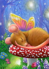 Mouse fairy toadstool forest firefly lights fantasy OE aceo print art
