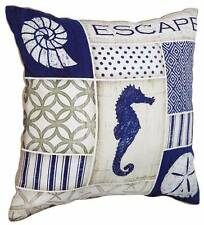 "Navy Seahorse Shells Escape Tan Burlap 18"" Decorative Pillow Coastal"