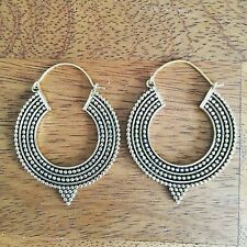 Silver Plated Tribal Pointed Hoop Earrings