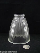 ANTIQUE RIBBED GLASS PENDANT OR BRIDGE LAMP SHADE GROUND