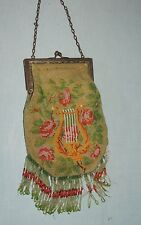 1920-30's Micro Beaded Purse w Lyre