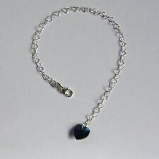 STERLING SILVER 925 Heart BRACELET Dark Blue SWAROVSKI Elements CRYSTAL Bridal