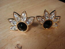 Swarovski Crystal Clip On Sun Floral Earrings Free US Shipping