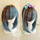 New Lolita Women's Medium Long Straight Hair Anime Full Wig Cosplay Brown+Blue