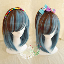 Medium Long Wig Straight Hair Cosplay Anime Cool Girl Blue Mix Brown Full Wigs