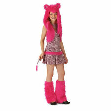NEW! PINK LEOPARD M 8-10 Deluxe Girl's Cat Costume with Furry Hood Leg Warmers