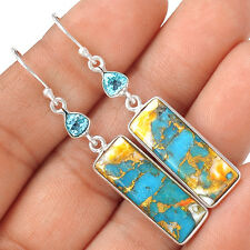 Spiny Oyster & Arizona Turquoise & Blue Topaz 925 Silver Earrings EE16737