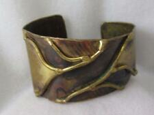 VINTAGE HM PATINATED BRASS ABSTRACT MODERNIST CUFF BRACELET W/ METAL DRIP